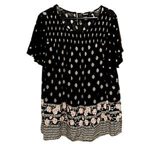 🚚 Torrid Black Boho Tunic Top with Floral …